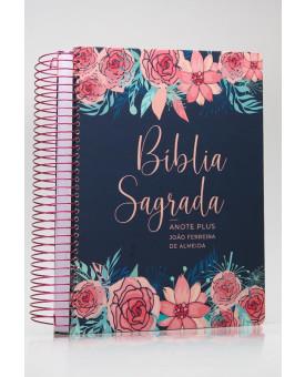 Bíblia Sagrada Anote Plus | RC | Letra Grande | Capa Dura | Espiral | Rosas