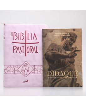 Kit Nova Bíblia Pastoral Letra Normal Rosa Zíper + Didaqué | Vivenciando a Fé