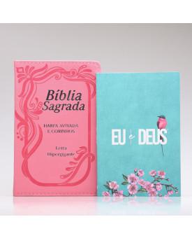 Kit Bíblia RC Harpa Letra Hipergigante Rosa Índice + Eu e Deus Meu Amado | Mulher de Fé