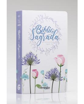 Bíblia Sagrada | RC | Letra Gigante | Semi - Luxo | Floral Branca