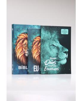 Kit Bíblia NVT 365 Leão Aslam + Livro de Oração + Guia Bíblico | Homem Sábio