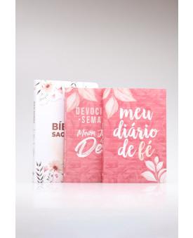 Kit Bíblia RC Garden + Devocional Semanal + Meu Diário de Fé | Mulher Virtuosa