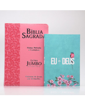 Kit Bíblia RC Harpa Letra Jumbo Ramos Rosa + Eu e Deus Meu Amado | Mulher de Fé