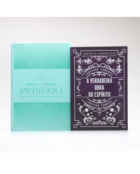Kit Bíblia de Estudo Swindoll Aqua + Grátis Livro A Verdadeira Obra do Espírito | Jonathan Edwards