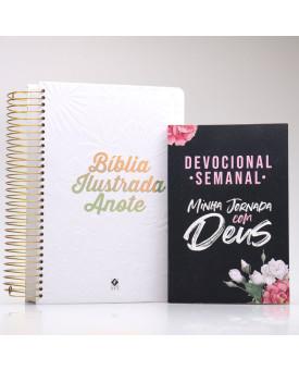 Kit Bíblia Anote Ilustrada Tela Branca + Grátis Devocional Semanal Minha Jornada com Deus | Mulher de Fé Ilustrada