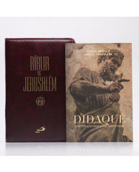 Kit Bíblia de Jerusalém Letra Normal Luxo Vinho Zíper + Didaqué | Vivenciando a Fé