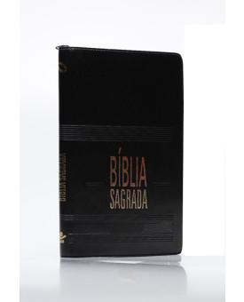 Bíblia Sagrada | NAA | Letra Média | Capa Sintético | Slim | Índice | Zíper | Preta