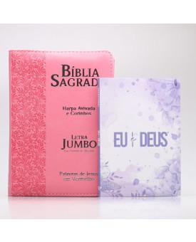 Kit Bíblia RC Harpa Letra Jumbo Zíper Ramos Rosa + Eu e Deus Lilás | Mulher de Fé