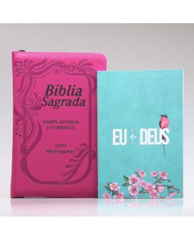 Kit Bíblia RC Harpa Letra Hipergigante Pink Índice Zíper + Eu e Deus Meu Amado | Mulher de Fé
