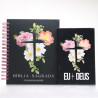Kit Bíblia NVI Capa Dura Flores Cruz Com Espaço Para Anotações + Eu e Deus Flores Cruz   Palavras de Bênção